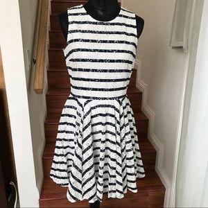 MAISON JULES white w/ navy blue striped lace dress
